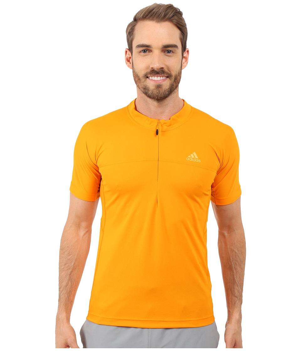adidas Outdoor 37.5 1/2 Zip Short Sleeve Tee Orange Mens Short Sleeve Pullover