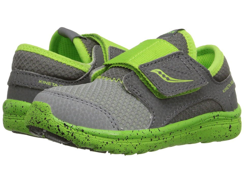 Saucony Kids Kineta A/C Toddler Grey/Green Boys Shoes