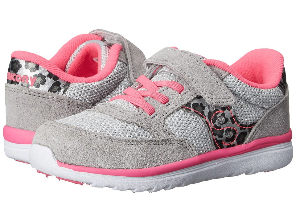 Saucony Kids Baby Jazz Lite Toddler/Little Kid Silver/Leopard/Pink Girls Shoes