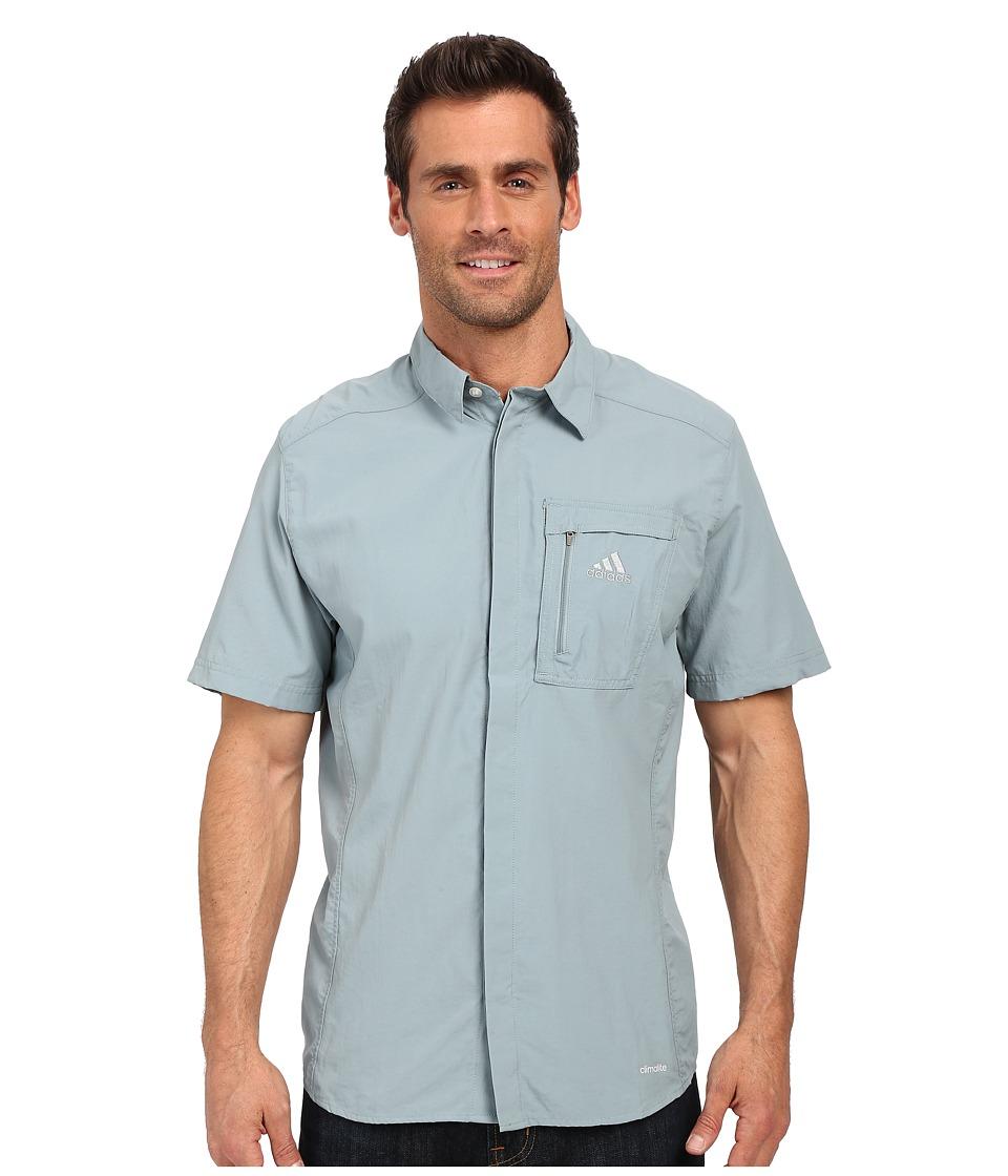 adidas Outdoor Hiking Wick Short Sleeve Shirt Green Earth Mens Short Sleeve Button Up