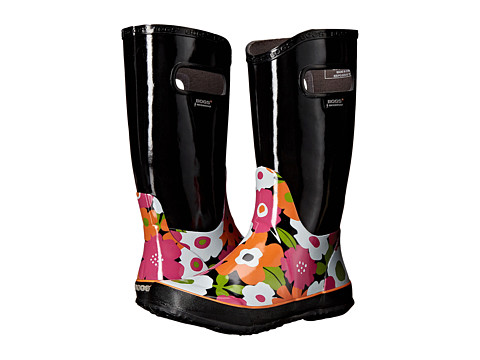 Bogs Kids Rain Boot Spring Flowers (Toddler/Little Kid/Big Kid) - Black Multi