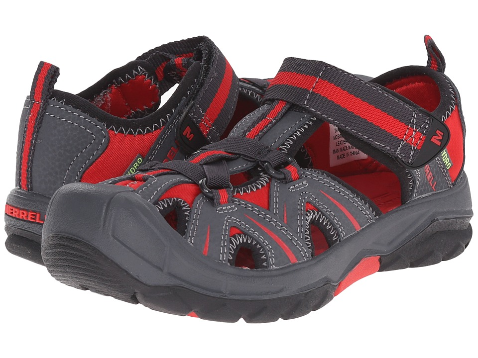 Merrell Kids Hydro Toddler/Little Kid/Big Kid Grey/Red Boys Shoes