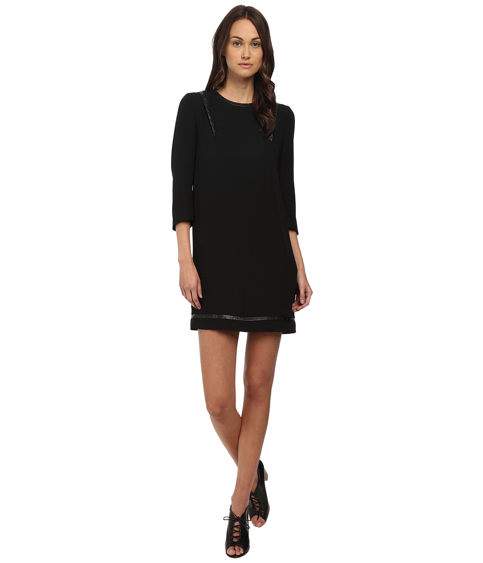 The Kooples Polycrepe Dress with Leather Insert and Studs Black Womens Dress