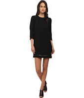 The Kooples - Polycrepe Dress with Leather Insert and Studs