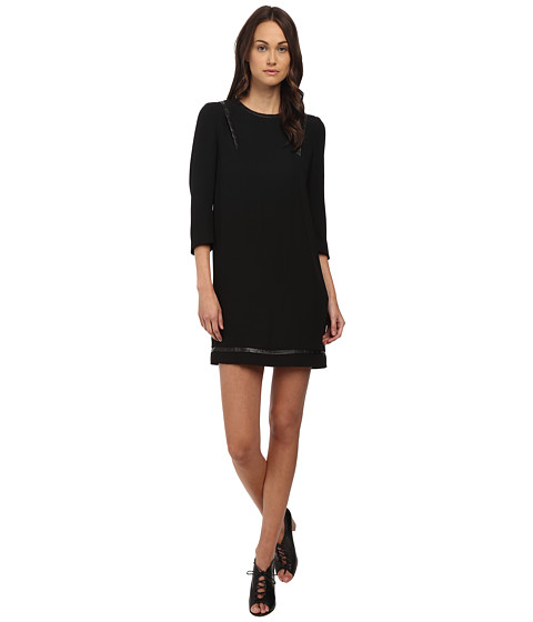 The Kooples Polycrepe Dress with Leather Insert and Studs