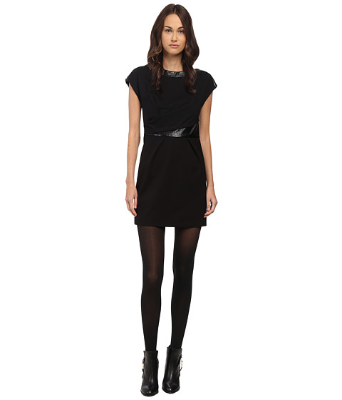The Kooples Sleeveless Dress with Cracked Vinyl Details