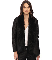 The Kooples - Jacket in Fake Leather and Faux Fur