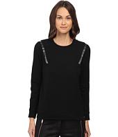 The Kooples - Fleece Sweatshirt with Leather Bands