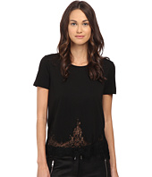 The Kooples - Short-Sleeved Jersey T-Shirt with Lace