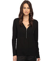 The Kooples - Long Sleeve T-Shirt with A Zip Neckline in Silk and Jersey