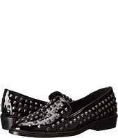 The Kooples - Patent Leather Slippers with Pyramid Studs