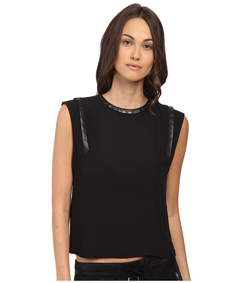 The Kooples Polycrepe Top with Leather Insert and Studs
