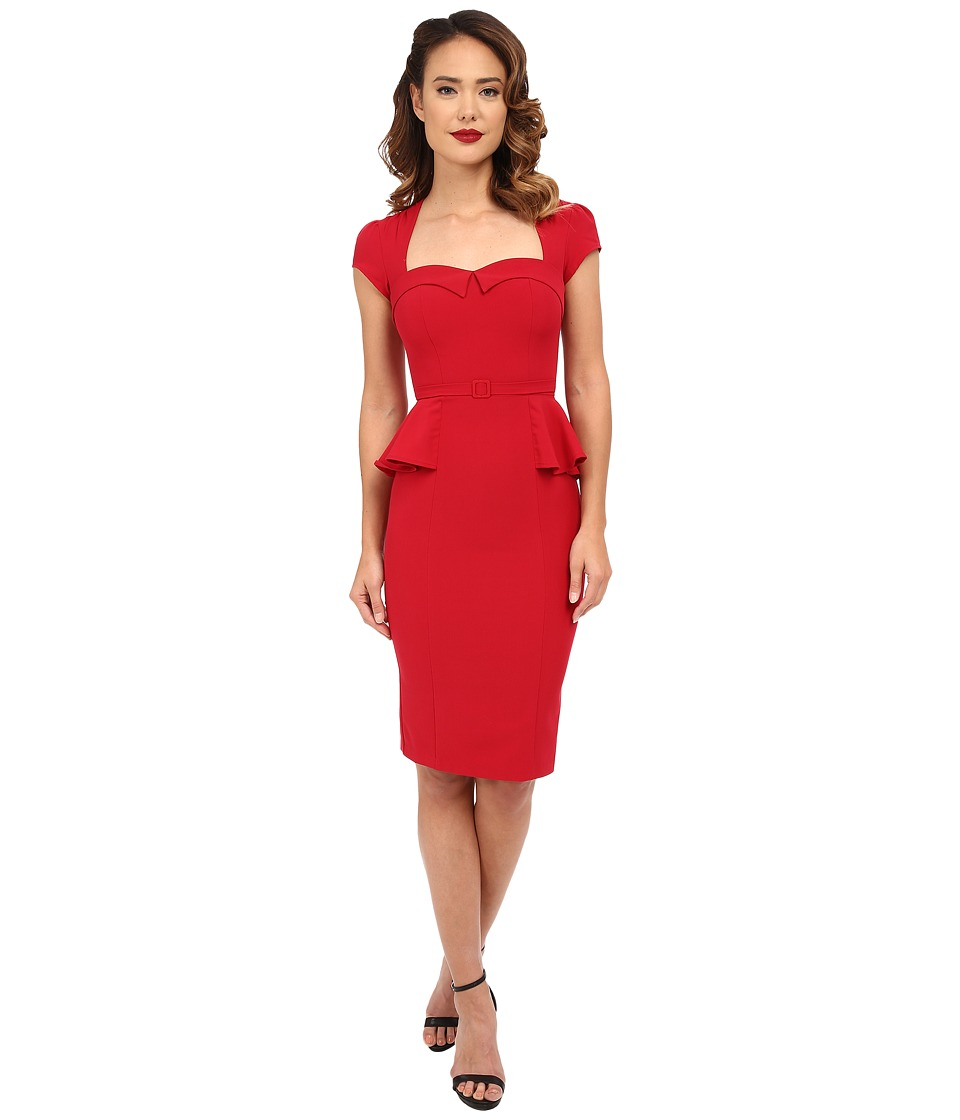 Stop Staring - Audrey Fitted Dress Red Womens Dress $198.00 AT vintagedancer.com
