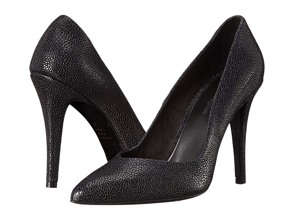 The Kooples Shagreen Style Leather Pumps Navy High Heels