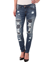 dollhouse - Parker Five-Pocket Rip And Repair Skinny Jeans in Dark Blue Wash