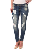 dollhouse - Clooney Destructed Capris in Medium Blue Wash