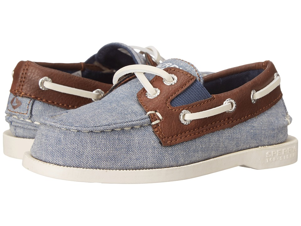 Sperry Top-Sider Kids - Authentic Original Slip-On (Toddler/Little Kid) (Chambray/Dark Tan) Boys Shoes