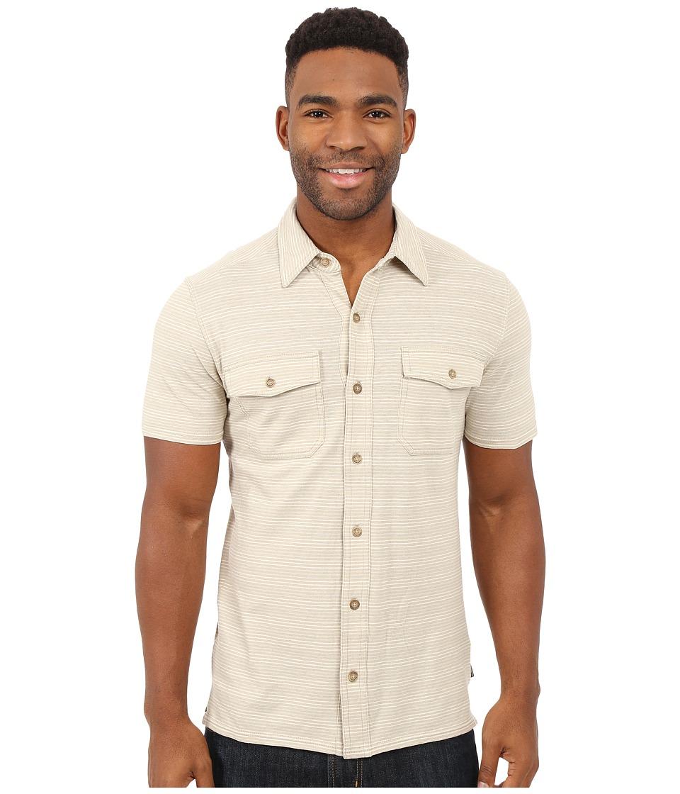 Royal Robbins Breeze Thru Stripe Button Front Shirt Light Khaki Mens Short Sleeve Button Up