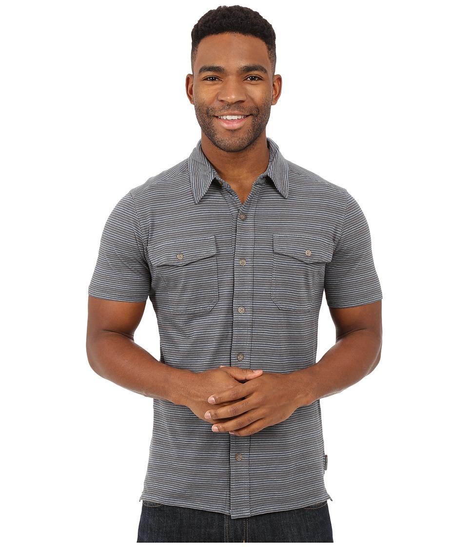 Royal Robbins Breeze Thru Stripe Button Front Shirt Slate Mens Short Sleeve Button Up