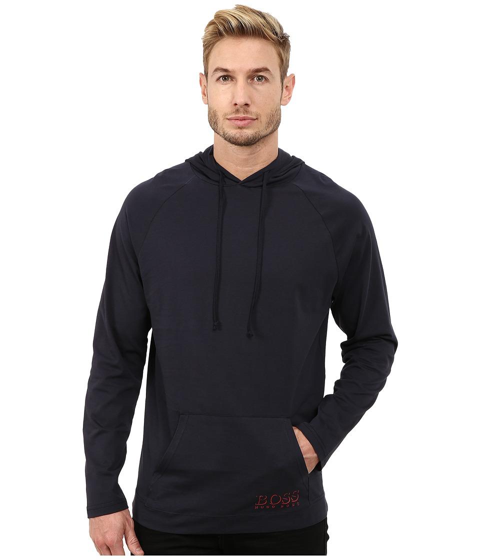 BOSS Hugo Boss Long Sleeve Hooded Shirt 1018 Navy 1 Mens Swimwear