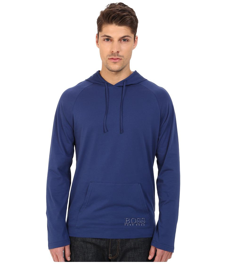 BOSS Hugo Boss Long Sleeve Hooded Shirt 1018 Navy 2 Mens Swimwear
