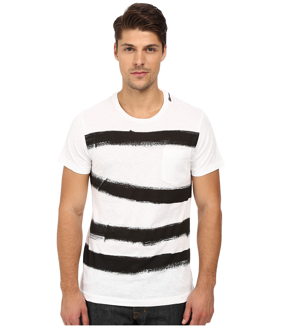 French Connection - Anarchy Stripe Tee (Optic White/Black) Men