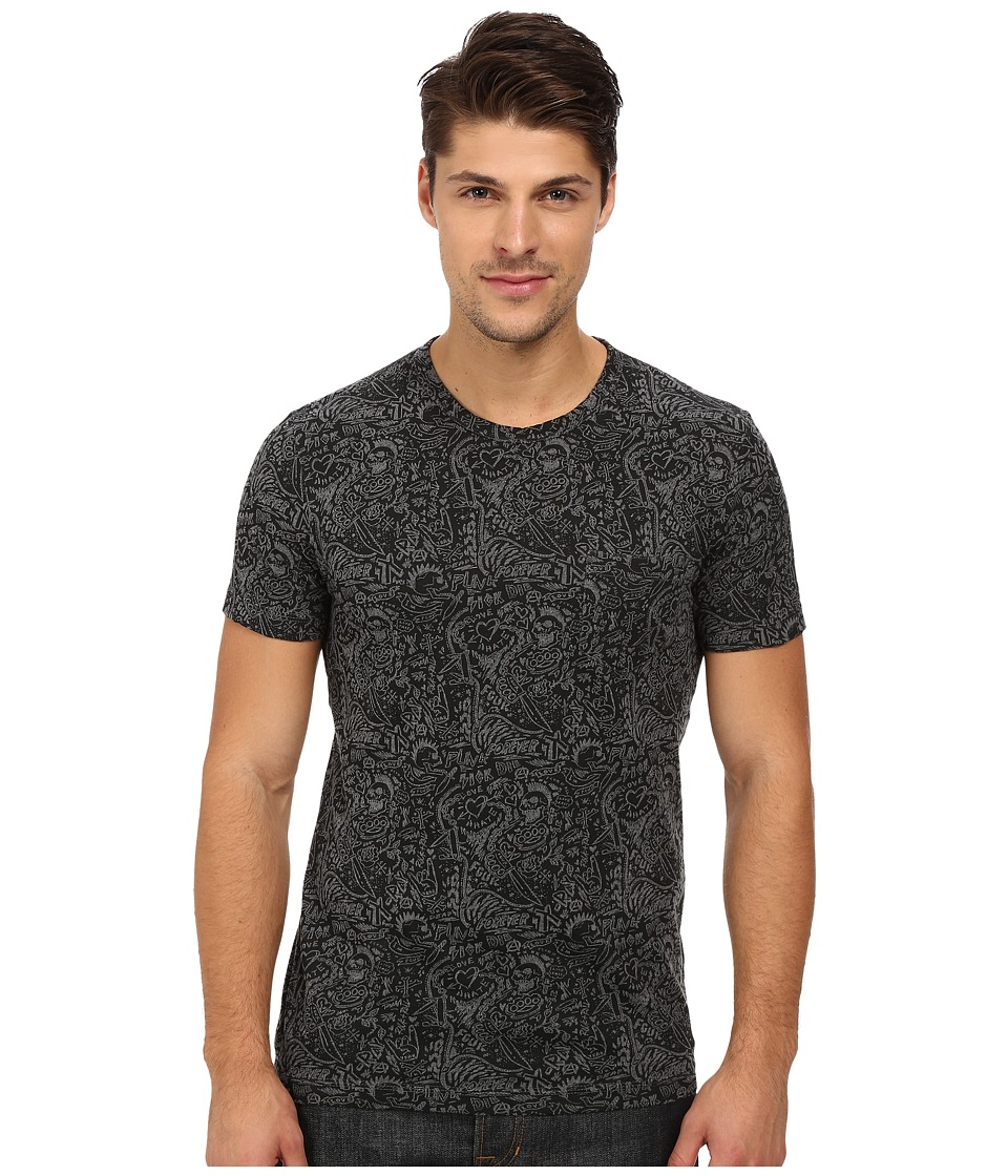 French Connection - Love Punk Tee (Charcoal Melange/Black) Men