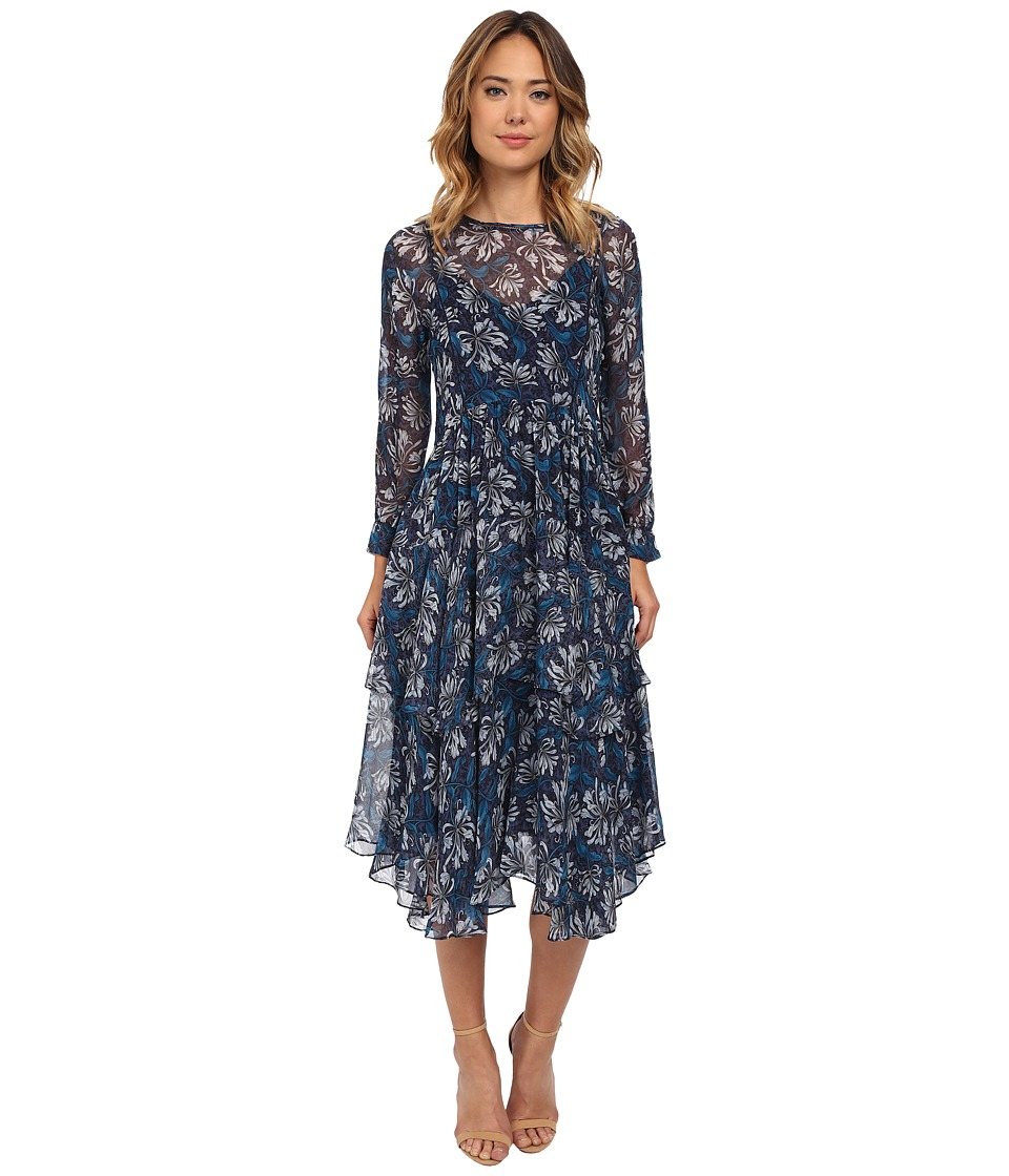 Rebecca Taylor - Mystic Chiffon Garden Print Dress Navy Womens Dress $550.00 AT vintagedancer.com
