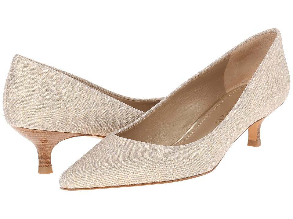 Stuart Weitzman Poco Gold Summer Linen Womens Slip on Dress Shoes