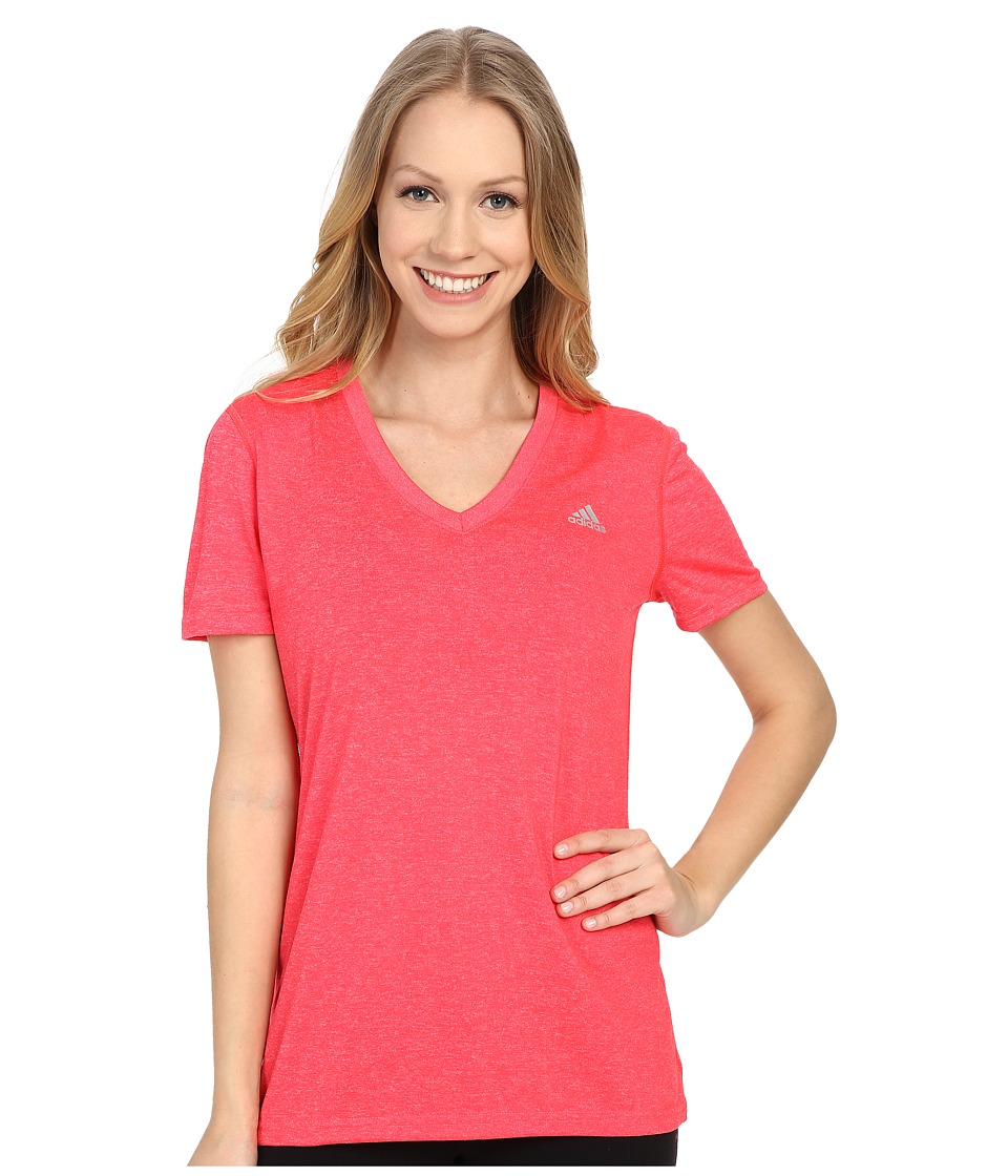 adidas - Ultimate S/S V-Neck Tee (Shock Red/Matte Silver) Women
