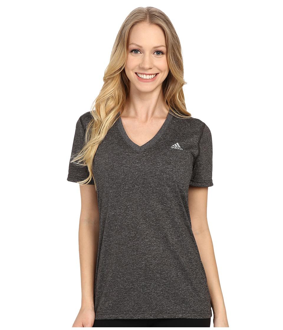 adidas Ultimate S/S V-Neck Tee (Dark Grey Heather/Matte Silver 1) Women