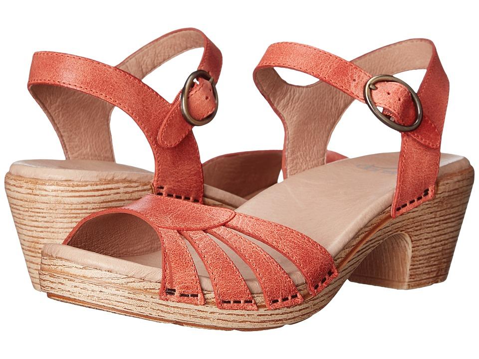Dansko Marlow Oranged Washed Leather Womens Sandals