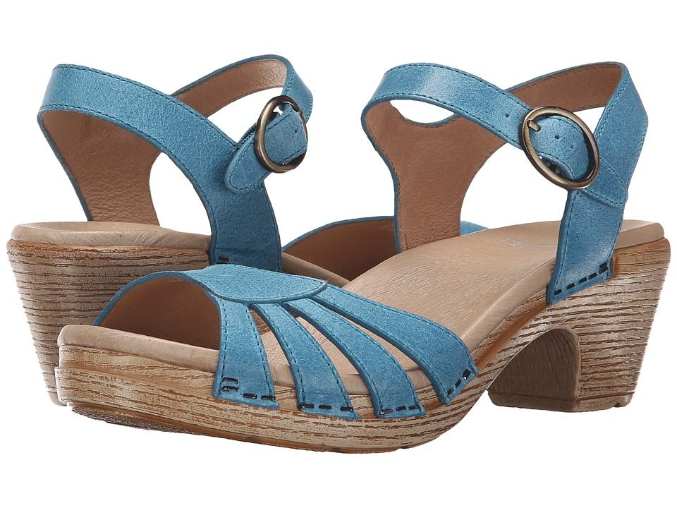 Dansko Marlow Blue Washed Leather Womens Sandals