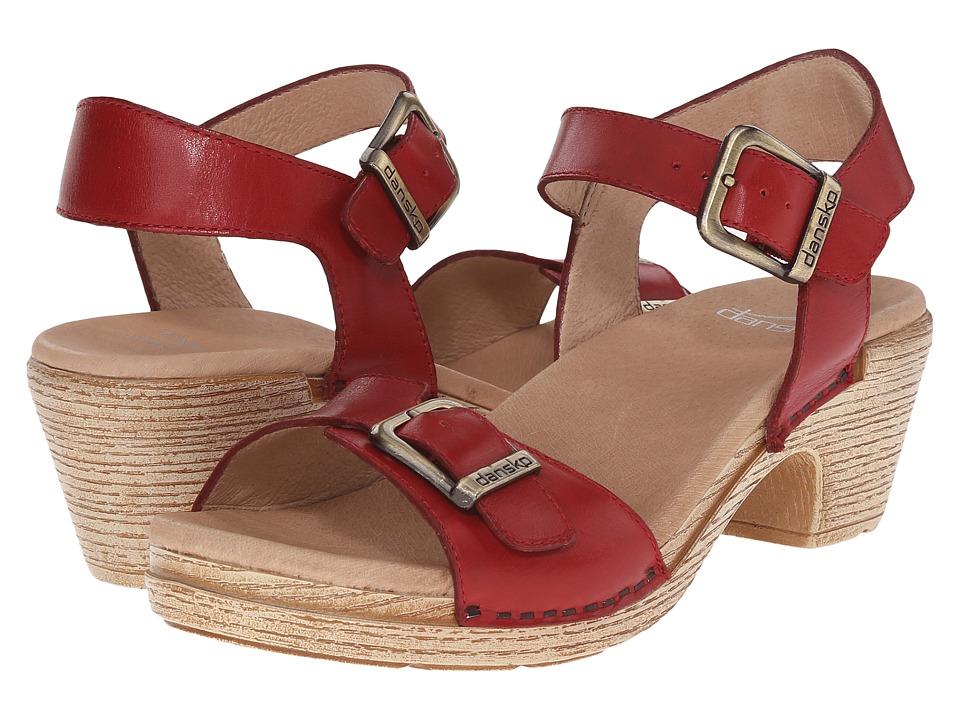 Dansko Matty Red Full Grain Womens Sandals