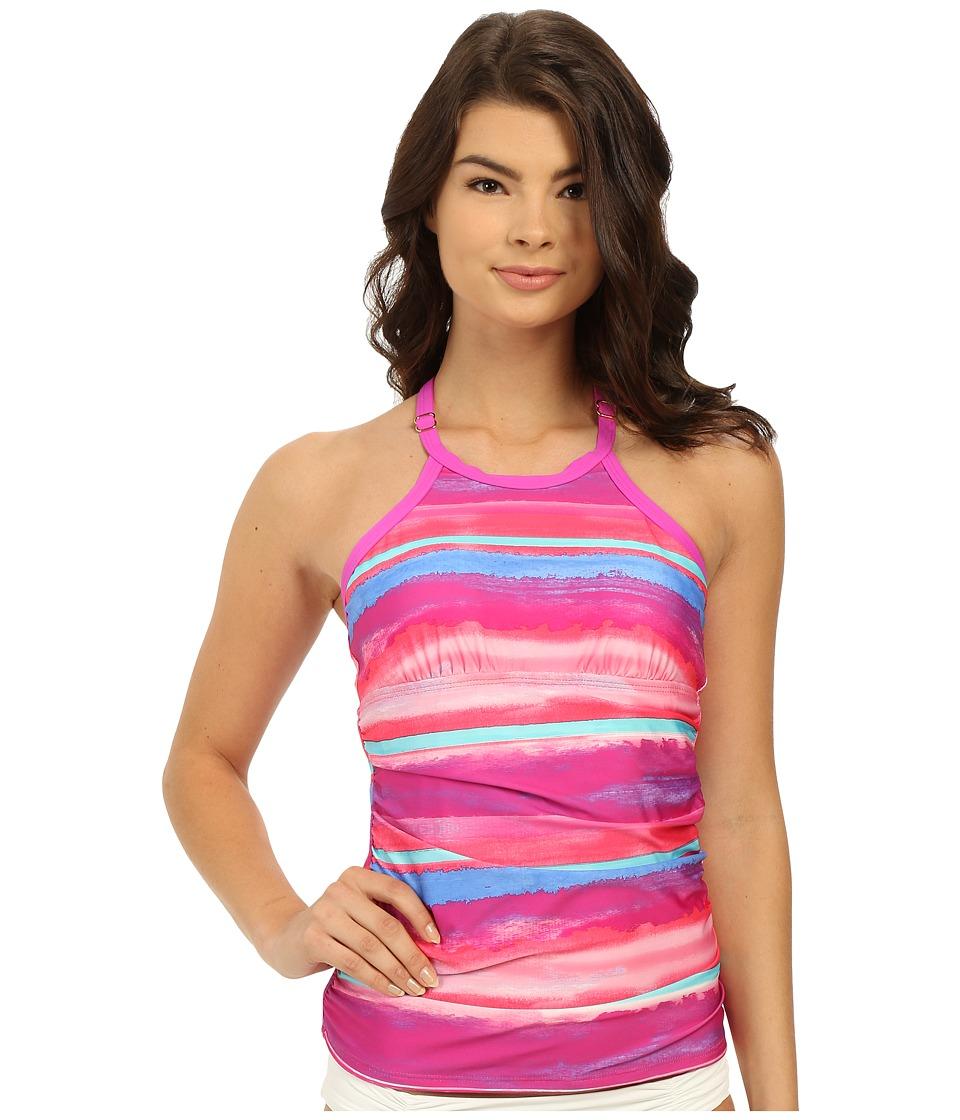Athena Bermuda Sunrise Soft Cup High Neck Tankini Top Multi Womens Swimwear