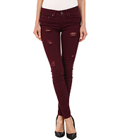 dollhouse - Sangria Destructed Full Length Skinny w/ Roll Cuff Jeans in Burgundy