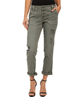 dollhouse - Olive Boyfriend Exposed Button Roll Cuff Pants