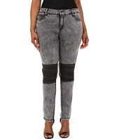 dollhouse - Plus Size Acid Grey Five-Pocket Skinny Jeans w/ Knee Patch