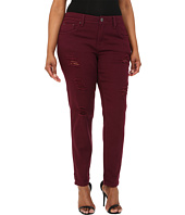 dollhouse - Plus Size Sangria Destructed Full Length Skinny Jeans w/ Roll Cuff