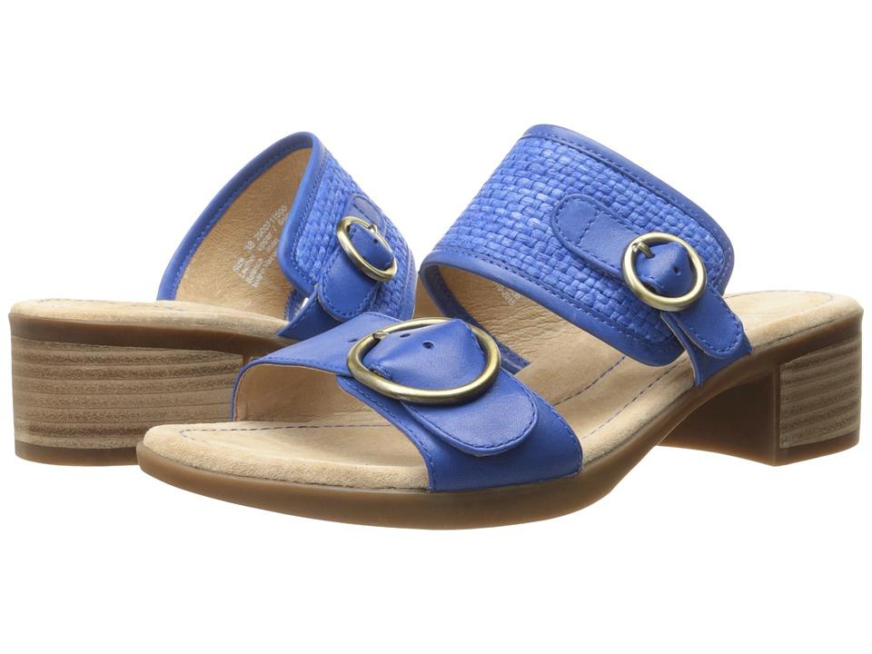 Dansko Lenny Cobalt Full Grain/Raffia Womens Sandals