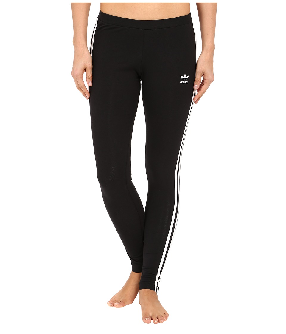 adidas Originals 3 Stripes Leggings Black/White Womens Casual Pants