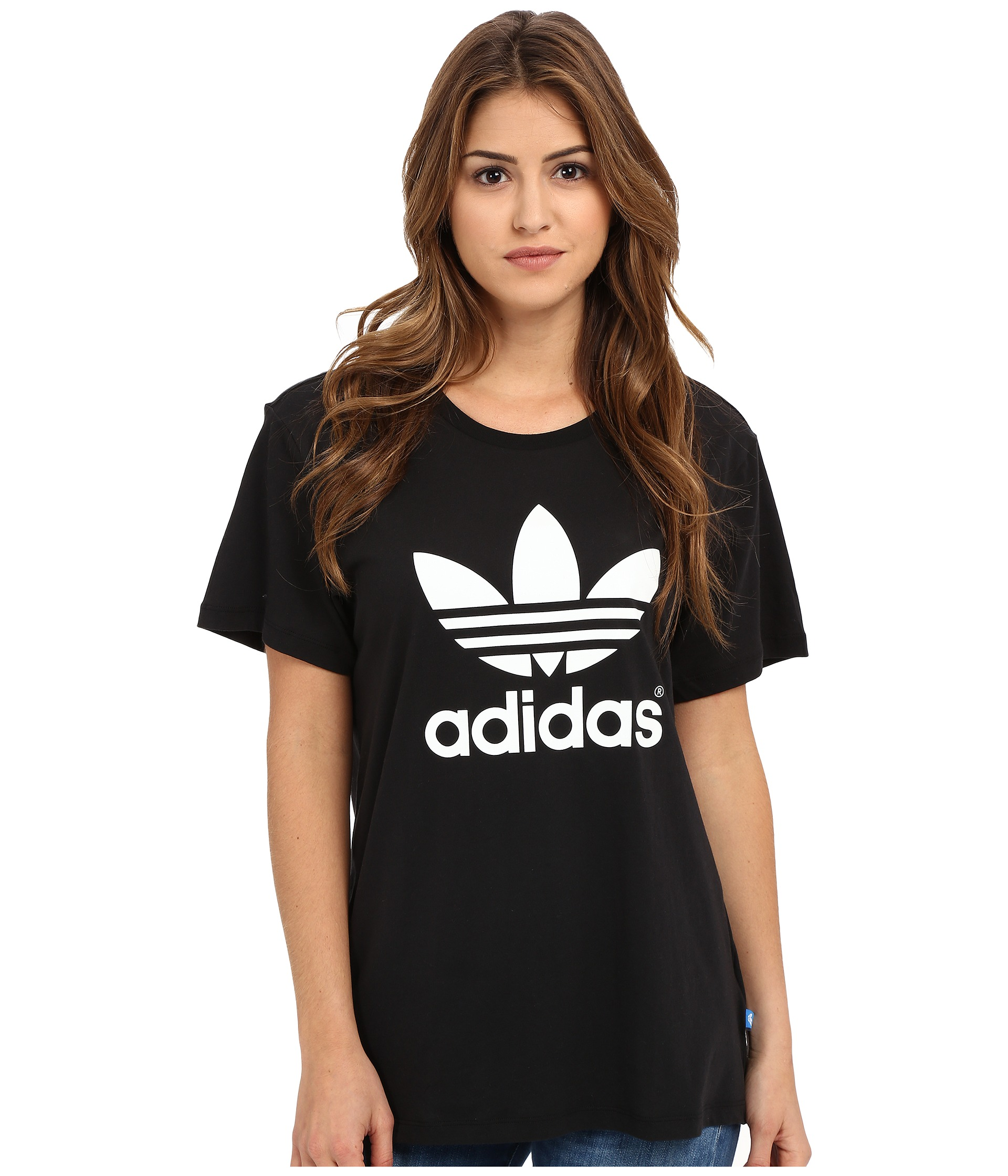 Adidas originals boyfriend trefoil tee at for Adidas lotus t shirt
