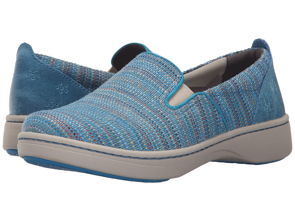 Dansko Belle Blue Textured Canvas Womens Slip on Shoes