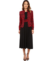 Jessica Howard - Two-Piece Mandarin Collar Ruched 3/4 Sleeve Jacket/Long Sleeve Ruched Waist Dress