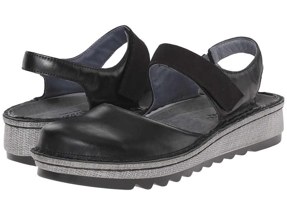 Naot - Lantana (Black Madras Leather/Black Velvet Nubuck) Women's Sandals