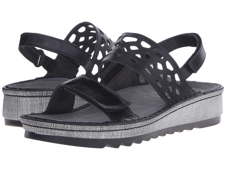 Naot Footwear Acacia Black Luster Leather/Black Raven Leather Womens Sandals