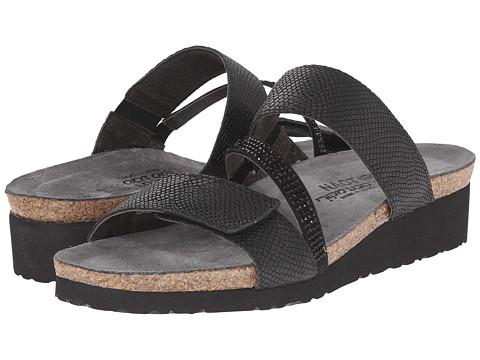 Naot Footwear Sheryl - Black Snake Leather/Black/Black Rhinestones
