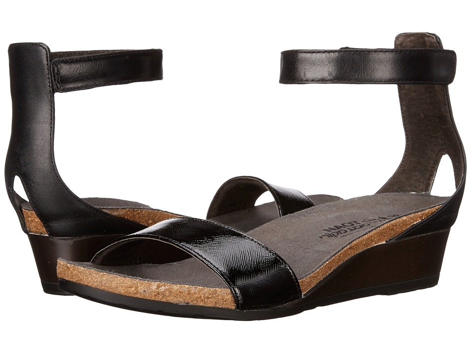 Naot Footwear Pixie Black Luster Leather/Black Raven Leather/Black Madras Leather Womens Sandals