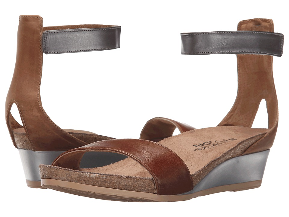 Naot Pixie (Maple Brown Leather/Latte Brown Leather/Mirror Leather) Sandals