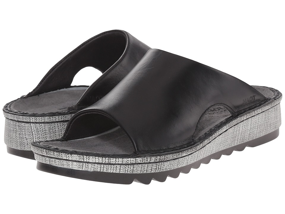 Naot Footwear Ardisia Black Madras Leather Womens Sandals